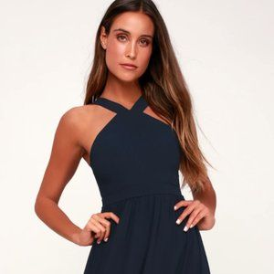 Lulus Air of Romance Navy Blue Maxi Dress